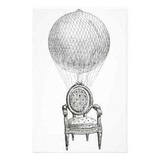 Steampunkのヴィンテージのコラージュの椅子及び熱気球 便箋