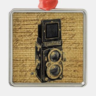 steampunkのヴィンテージの原稿のバーラップのアンティークのカメラ メタルオーナメント