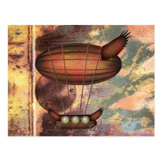 Steampunkのヴィンテージの青銅の飛行船の郵便はがき ポストカード