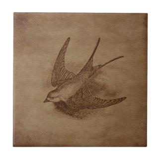 Steampunkのヴィンテージの鳥 タイル