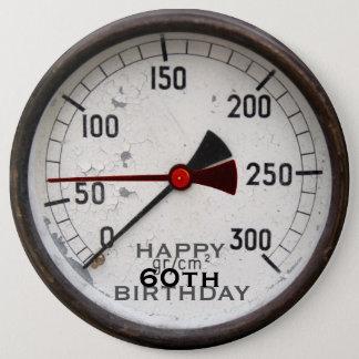 Steampunkの古い圧力計の第60誕生日ボタン 缶バッジ