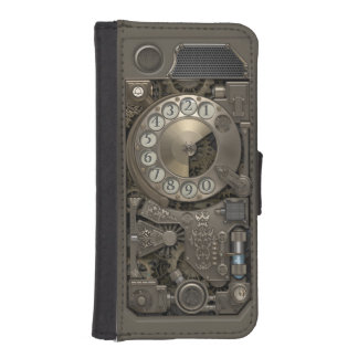 Steampunkの回転式金属のダイヤル式電話 iPhoneSE/5/5sウォレットケース