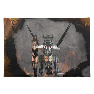 STEAMPUNKの女の子および蒸気のドラゴンの焼跡それ ランチョンマット