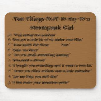 steampunkの女の子に言うために10の事を決して越えないで下さい マウスパッド