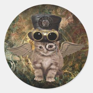 Steampunkの子猫 ラウンドシール