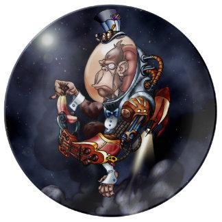 Steampunkの宇宙のチンパンジーのプレート 磁器プレート