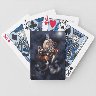 Steampunkの宇宙のチンパンジーの飛んでいるなカード バイスクルトランプ