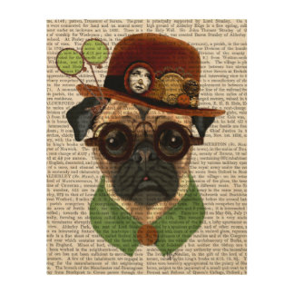 Steampunkの山高帽が付いているパグ ウッドウォールアート