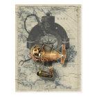 Steampunkの操縦出来る気球の乗車 ポストカード