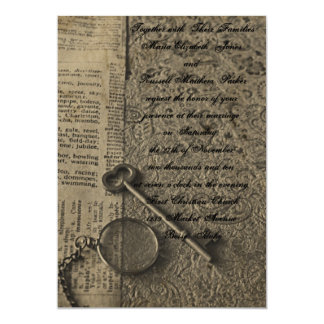Steampunkの旧式の結婚式招待状 カード