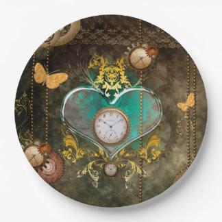 Steampunkの時計とのすばらしいハート ペーパープレート
