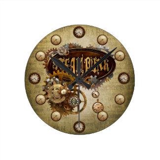 Steampunkの時計 ラウンド壁時計