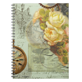 Steampunkの時間及び黄色バラ ノートブック