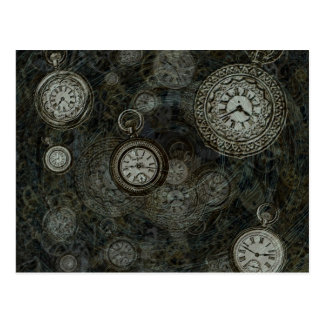 Steampunkの時間旅行プリント、黒、銀の腕時計 ポストカード