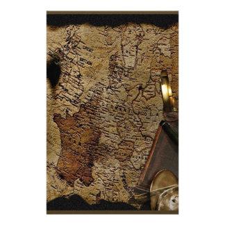 Steampunkの時間旅行付属品、地図、コンパス 便箋