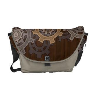 Steampunkの木製のスタイルのギア メッセンジャーバッグ