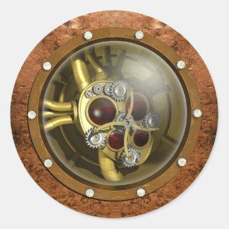 Steampunkの機械ハート ラウンドシール