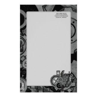 Steampunkの機械類(モノクロ) 便箋