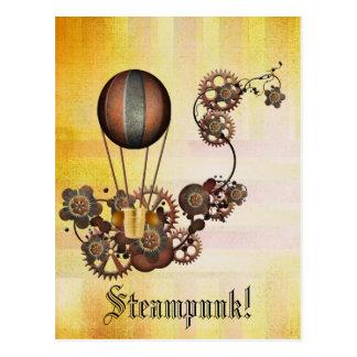 Steampunkの気球のアンティークの黄色 ポストカード