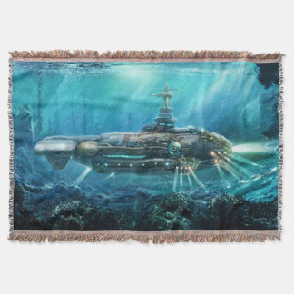 Steampunkの潜水艦によって編まれるブランケット スローブランケット
