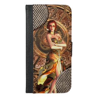 Steampunkの美しい蒸気の女性 iPhone 6/6s Plus ウォレットケース