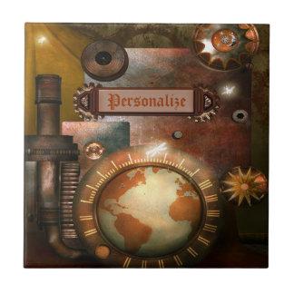 Steampunkの美しく名前入りなタイル タイル