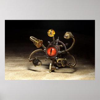 Steampunkの見る人のロボット ポスター