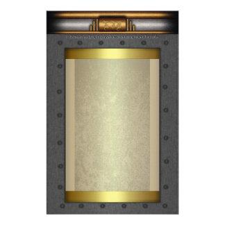 Steampunkの金ゴールドおよび黄銅の鋼鉄リベットフレーム 便箋