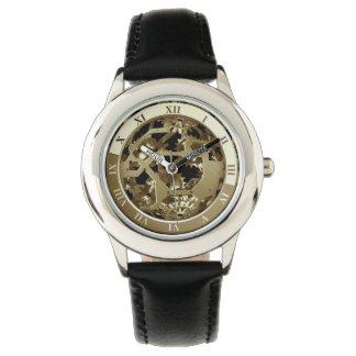 Steampunkの金属の時計のギアの抽象芸術 腕時計