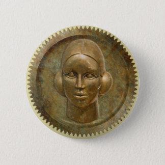 Steampunkの金金属のギアの女神 5.7cm 丸型バッジ