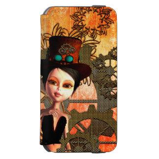 Steampunkのsteampunkの帽子、時計を持つかわいい女の子 Incipio Watson™ iPhone 5 財布型ケース