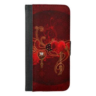 Steampunkのwunderfulハート iPhone 6/6s Plus ウォレットケース