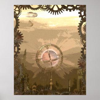 Steampunkはギア及び飛行船の蒸気都市をインスパイア ポスター