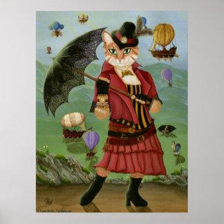 Steampunk猫のビクトリアンなポートレートのゴシック様式芸術のプリント ポスター