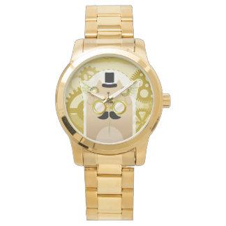 Steampunk猫の金ゴールドのブレスレットの腕時計 腕時計