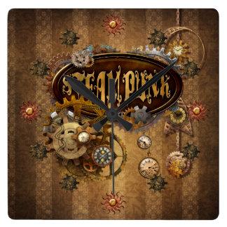 Steampunk スクエア壁時計