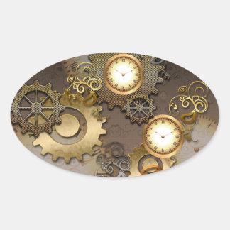 Steampunk、時計およびギア 楕円形シール