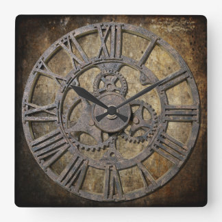 Steampunk 1つの正方形 スクエア壁時計