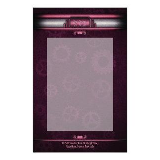 Steampunkedのアールデコのスタイル、ピンクの金属ハート 便箋