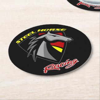 Steel Horse Racing Drink Coasters - Set of 6 ラウンドペーパーコースター