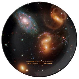 Stephansのクインテットの深宇宙の星の銀河系の集り 磁器プレート