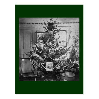 Stereoviewのクリスマスツリーのビクトリアンな19世紀のヴィンテージ ポストカード