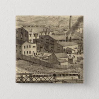 Steubenville鋳物場および機械仕事 5.1cm 正方形バッジ