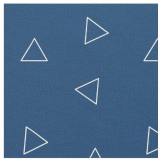 Stickelberry著青および白い三角形の生地 ファブリック
