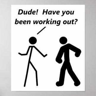 Stickmanのトレーニングのおもしろいなポスター ポスター