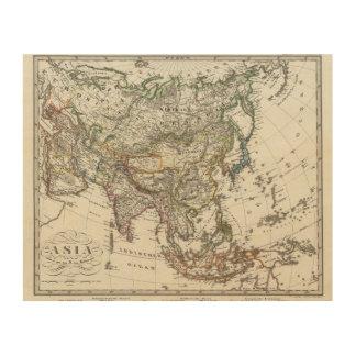 Stieler著アジアの地図 ウッドウォールアート