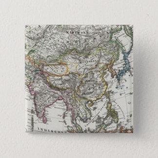Stieler著アジアの地図 5.1cm 正方形バッジ
