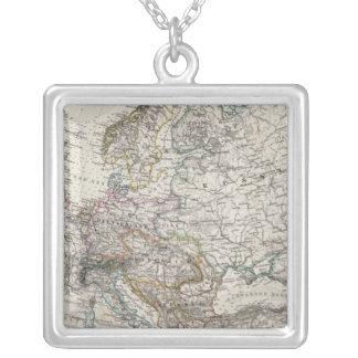 Stieler著ヨーロッパの地図 シルバープレートネックレス