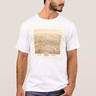 Stocktonのカリフォルニアのパノラマ式の地図1870年(1667A元通りになる) - Tシャツ