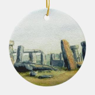 Stonehengeの水彩画 セラミックオーナメント